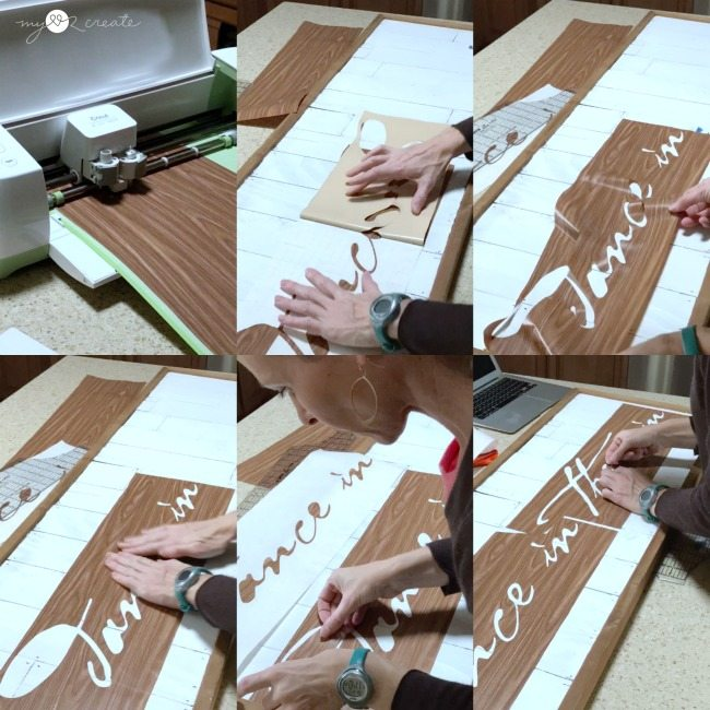 cutting a stencil out of contact paper on a cricut