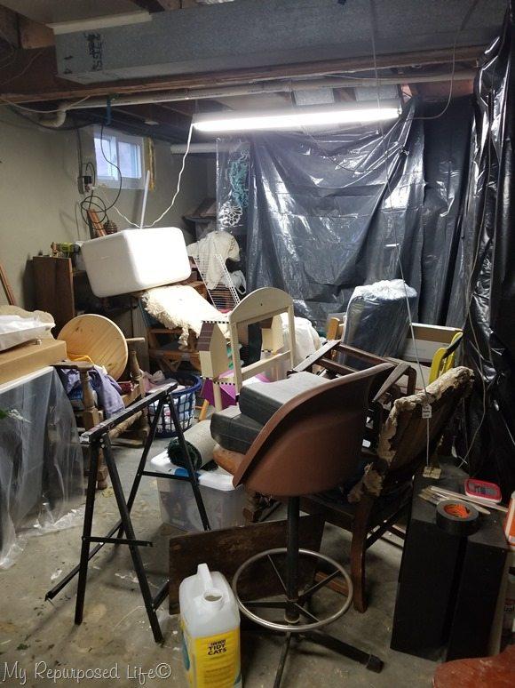 front corner of basement shop