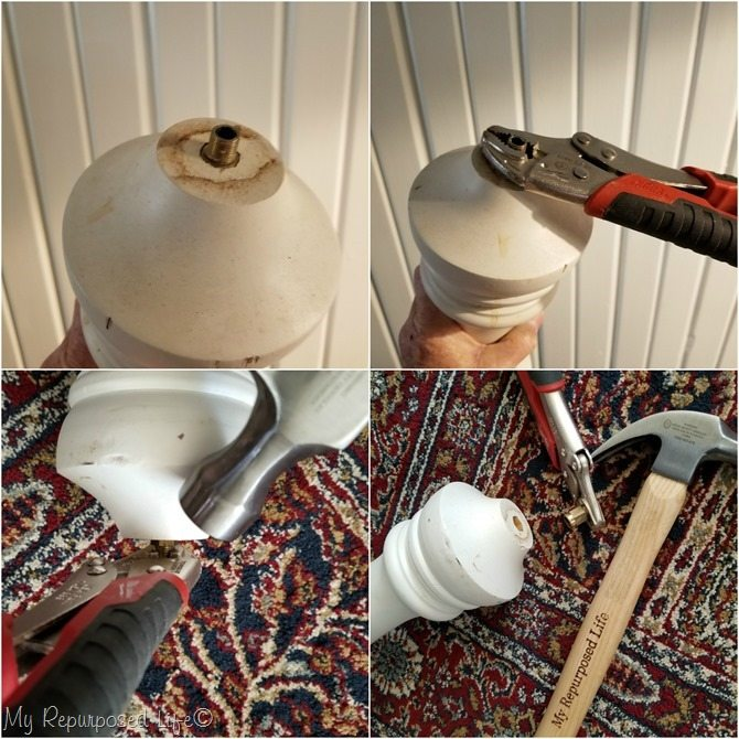 how to remove a stubborn part on a lamp