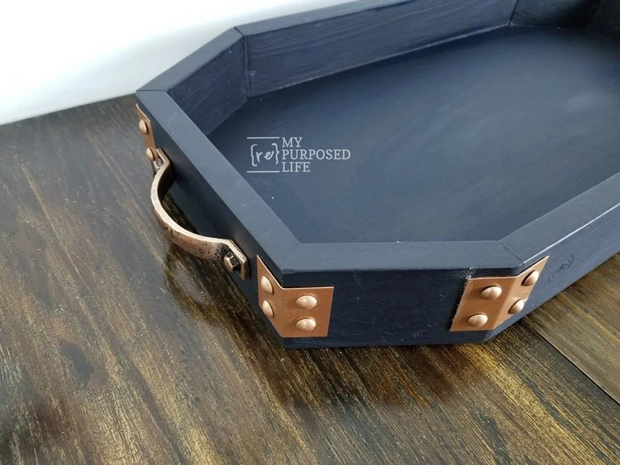 octagon tray with copper accents MyRepurposedLife.com