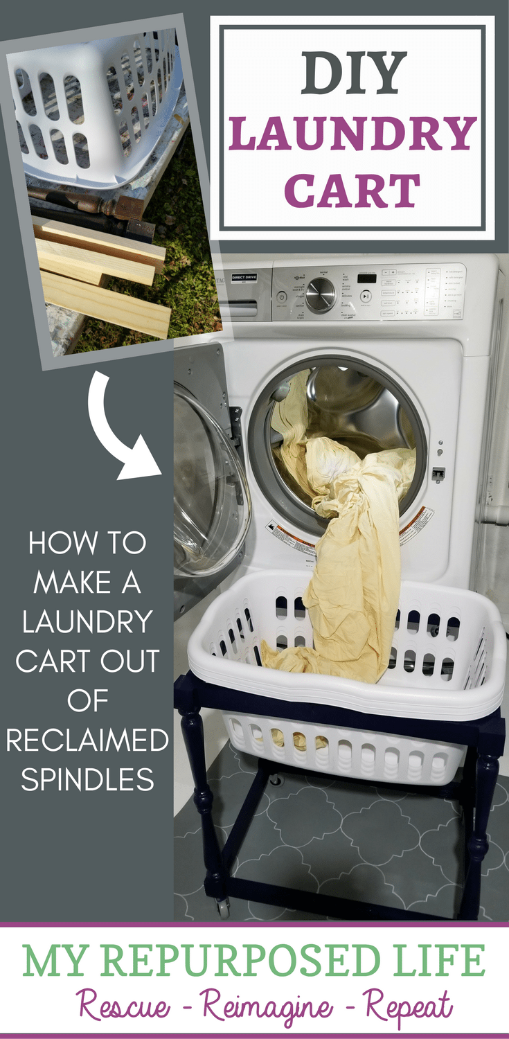 upcycled projects diy laundry cart made from reclaimed spindles