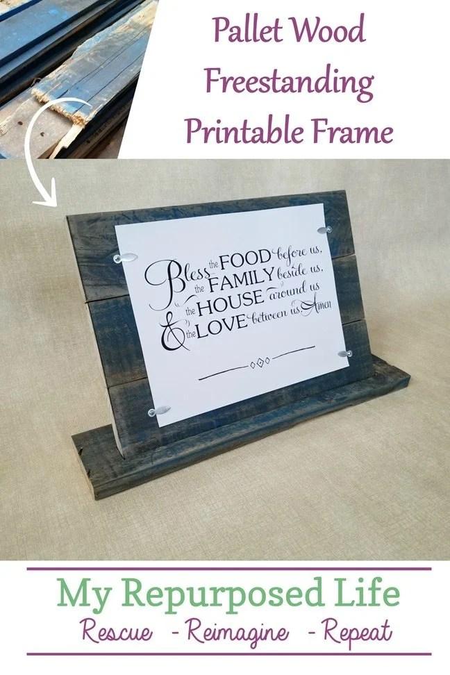 how to make a freestanding printable frame out of pallet wood MyRepurposedLife.com