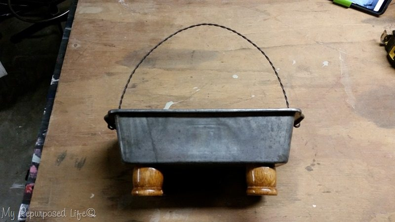 repurposed loaf pan planter with feet