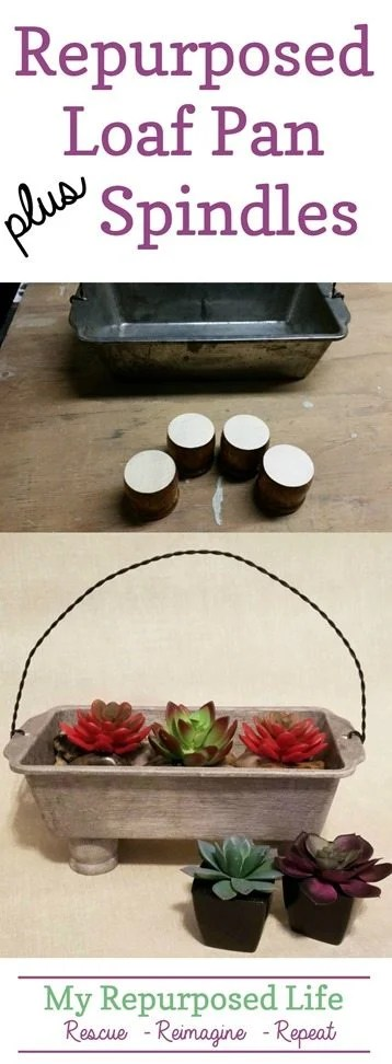 repurposed loaf pan plus spindles make succulent planter with twisted wire handle MyRepurposedLife.com