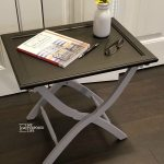 Luggage Rack Side Table using a Cabinet Door