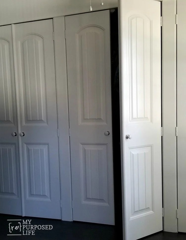 bi-fold doors to french closet doors MyRepurposedLife.com