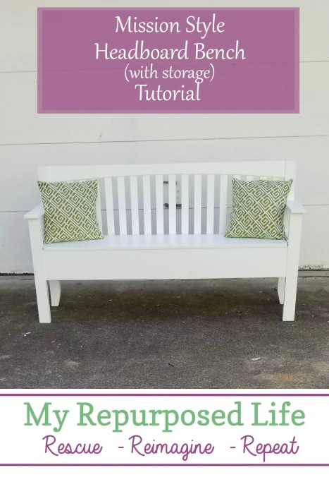 upcycled projects mission style headboard made into a bench with storage