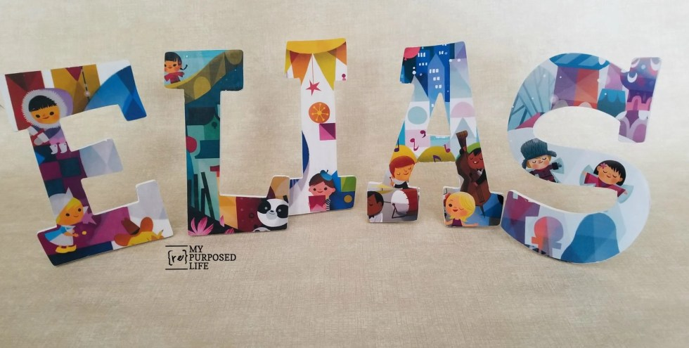 it's a small world decoupage wooden letters for nursery or playroom-great for a baby shower