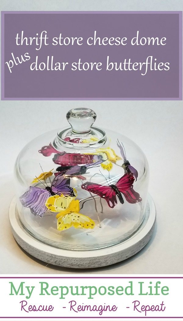 thrift store cheese dome dollar store butterflies spring decor MyRepurposedLife.com