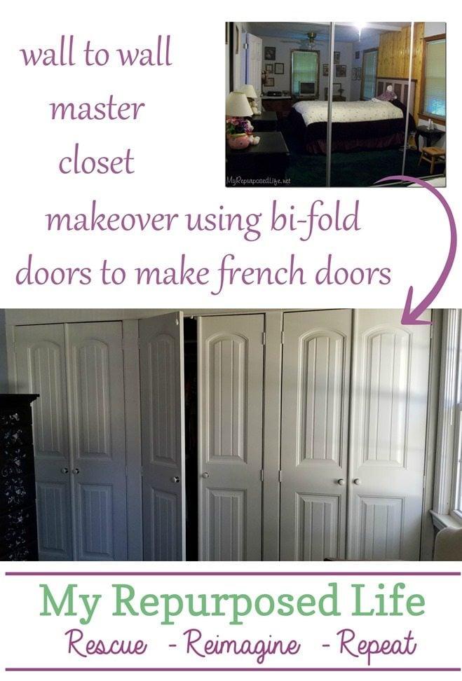 wall to wall master closet makeover using bi-fold doors to make french doors MyRepurposedLife.com