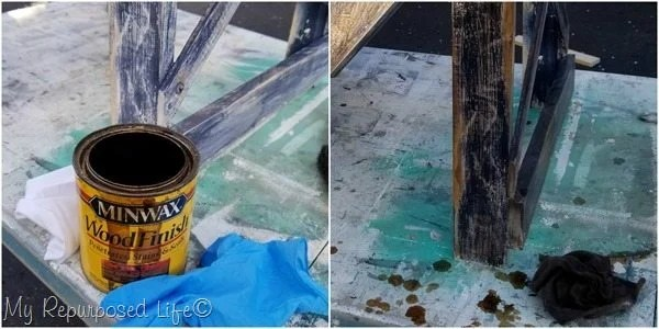 apply stain to layered paint for aged look