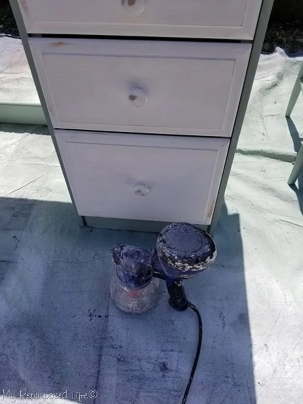 how to paint desk drawers with a hvlp paint sprayer