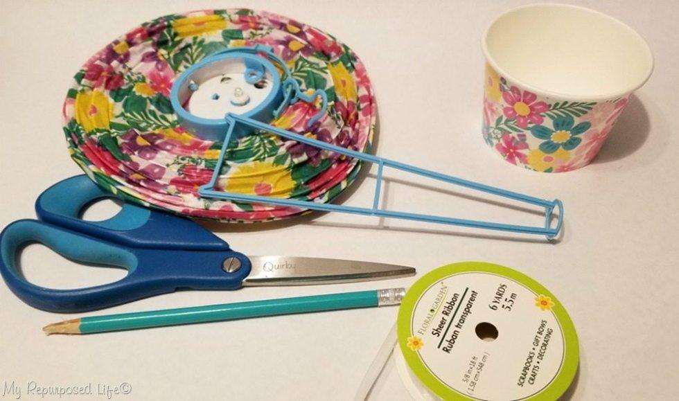 materials to make dollar store diy hot air balloon shower decor