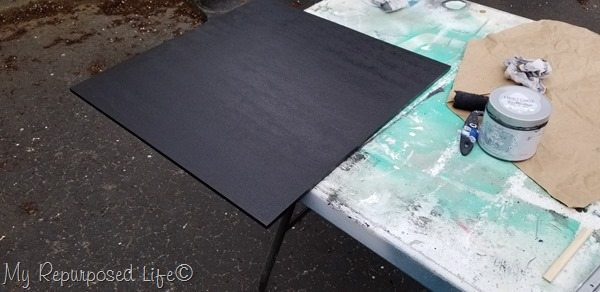 paint rustic skyline back board black