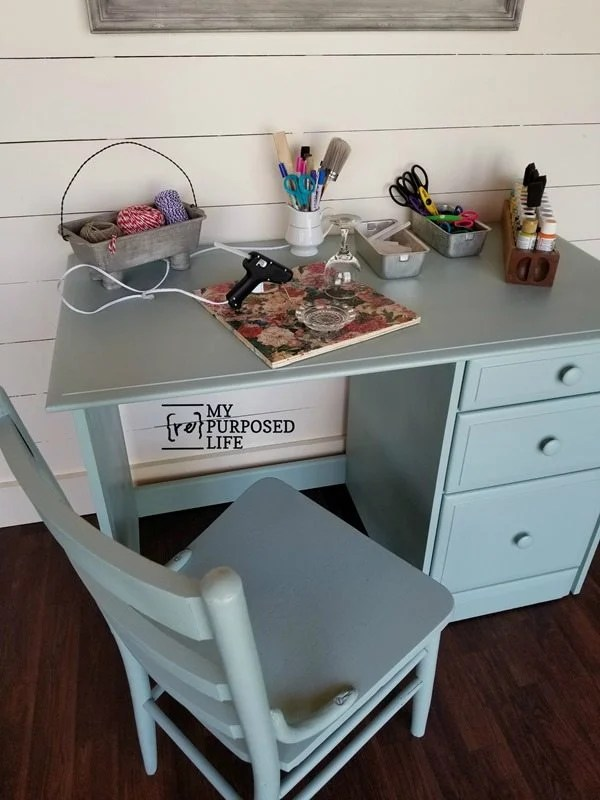 small green craft desk makeover MyRepurposedLife.com