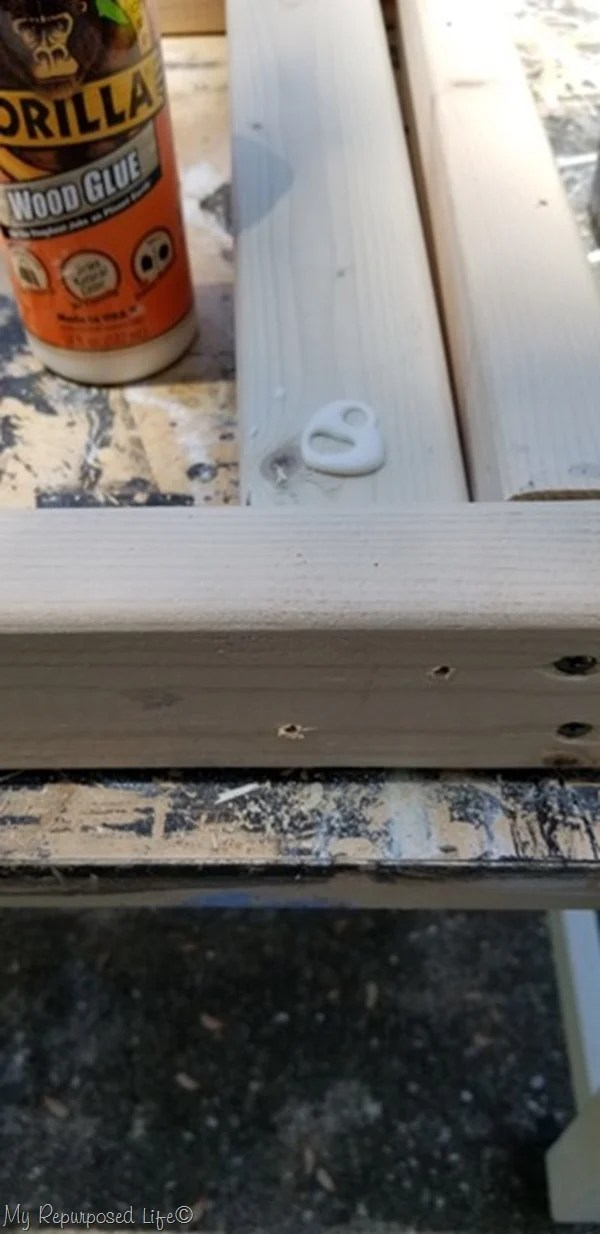 pre-drill holes for table legs use wood glue
