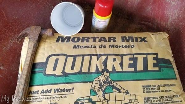mortar mix makes diy door stop
