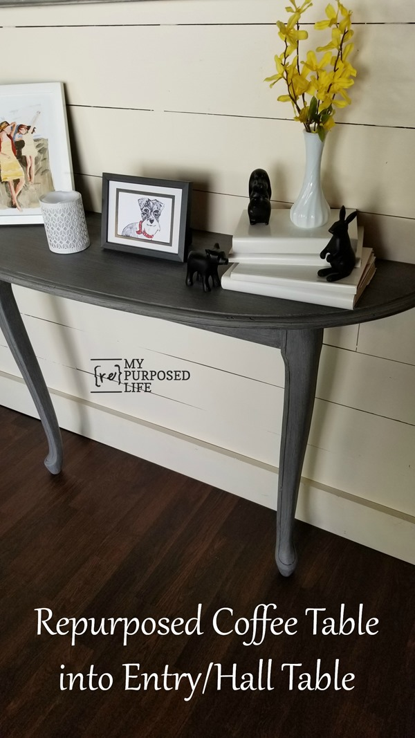 reclaimed repurposed coffee table into entry hall table MyRepurposedLife.com