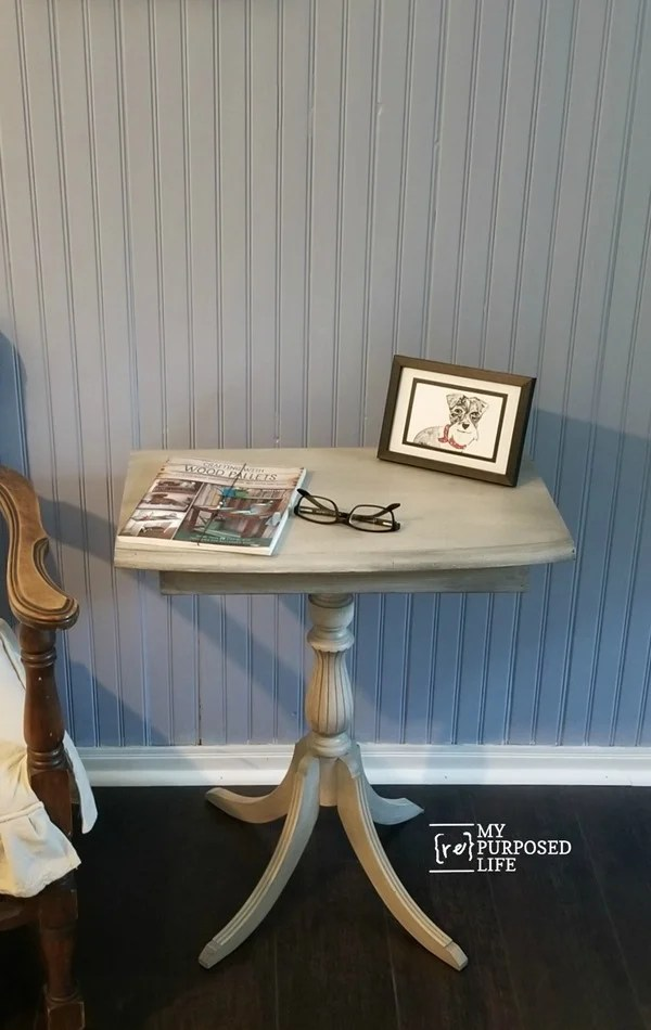 glaze painted furniture such as this small four legged side table redo MyRepurposedLife.com