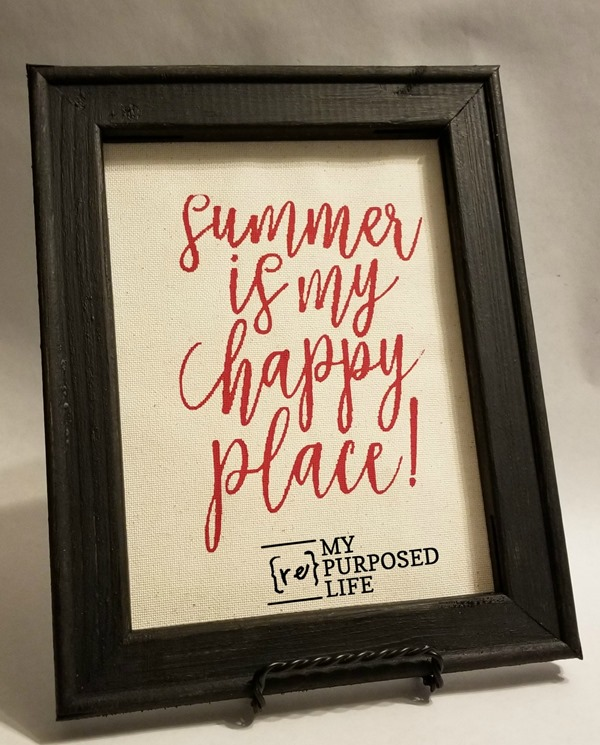 summer is my happy place chalk couture transfer reverse canvas MyRepurposedLife.com