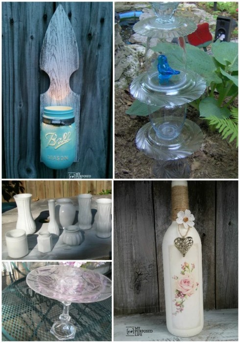 repurposed glass bottles and plates