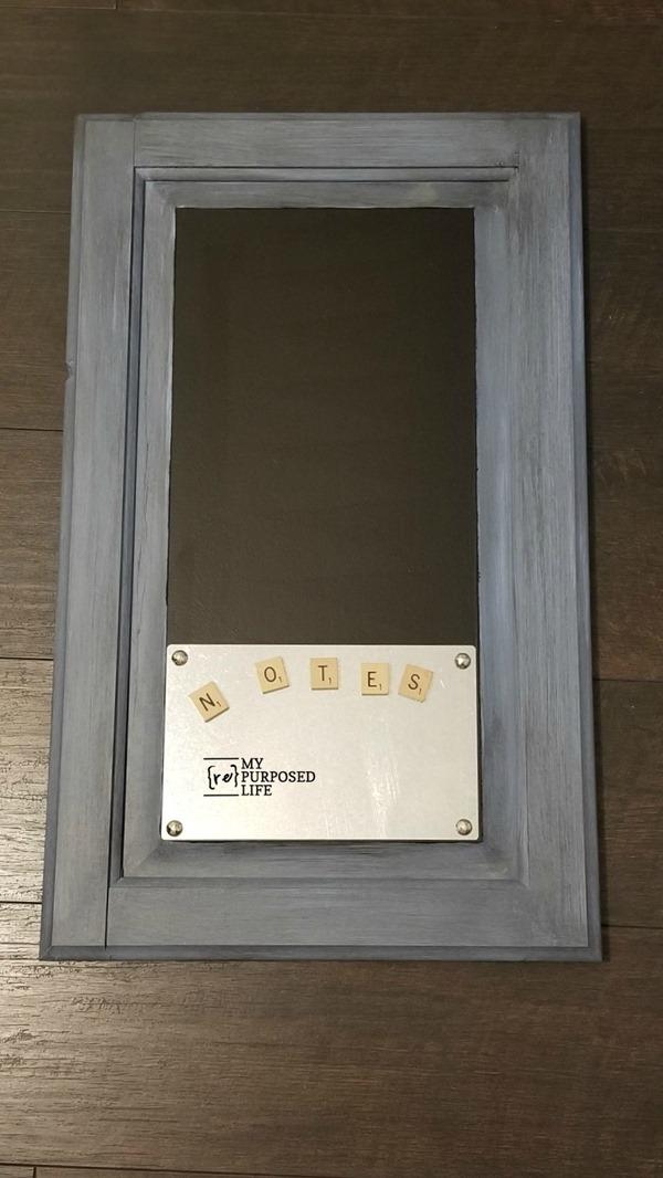 blue glazed cabinet door chalkboard memo MyRepurposedLife