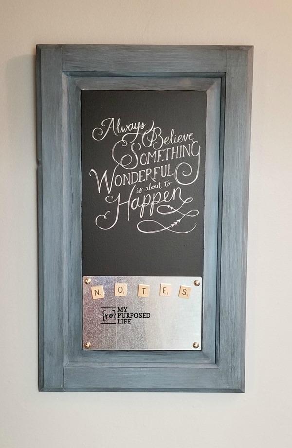 magnetic chalkboard memo repurposed cabinet door MyRepurposeLife