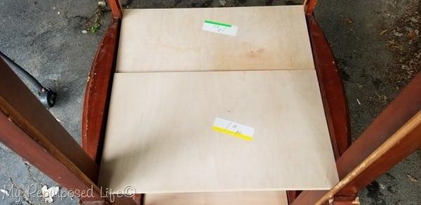 add shelf to repurposed armoire door bookcase