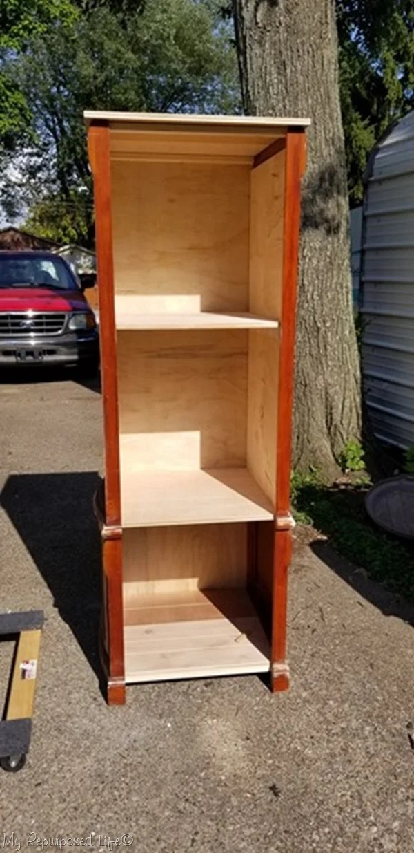 book shelf made from armoire doors
