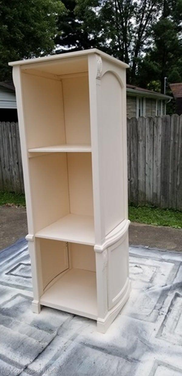 diy bookshelf made from reclaimed armoire doors