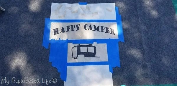 happy camper stenciled rug
