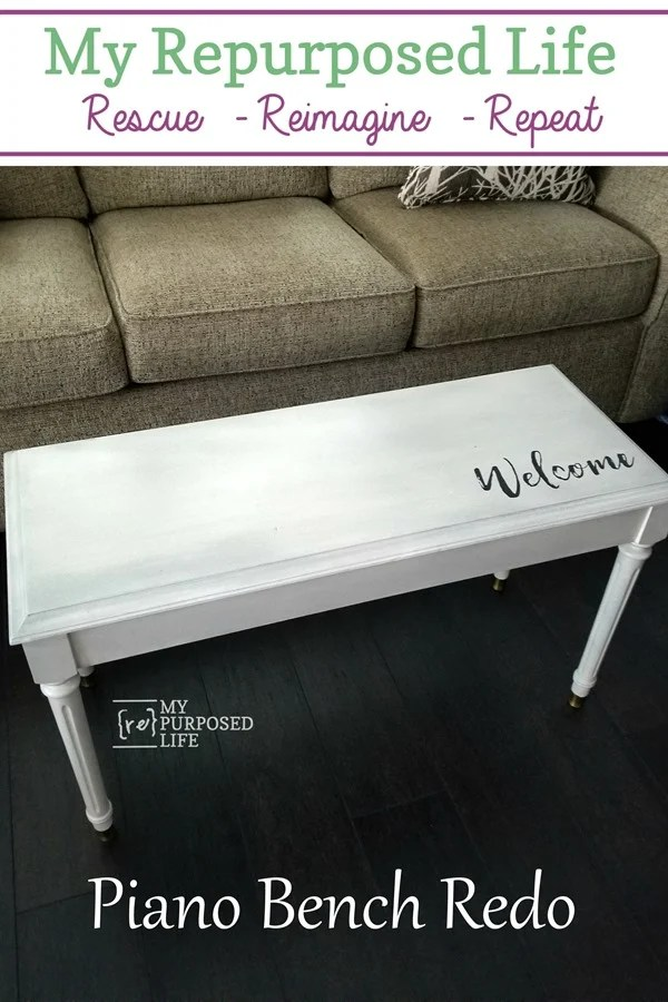 vintage piano bench redo with paint glaze and stencil MyRepurposedLife