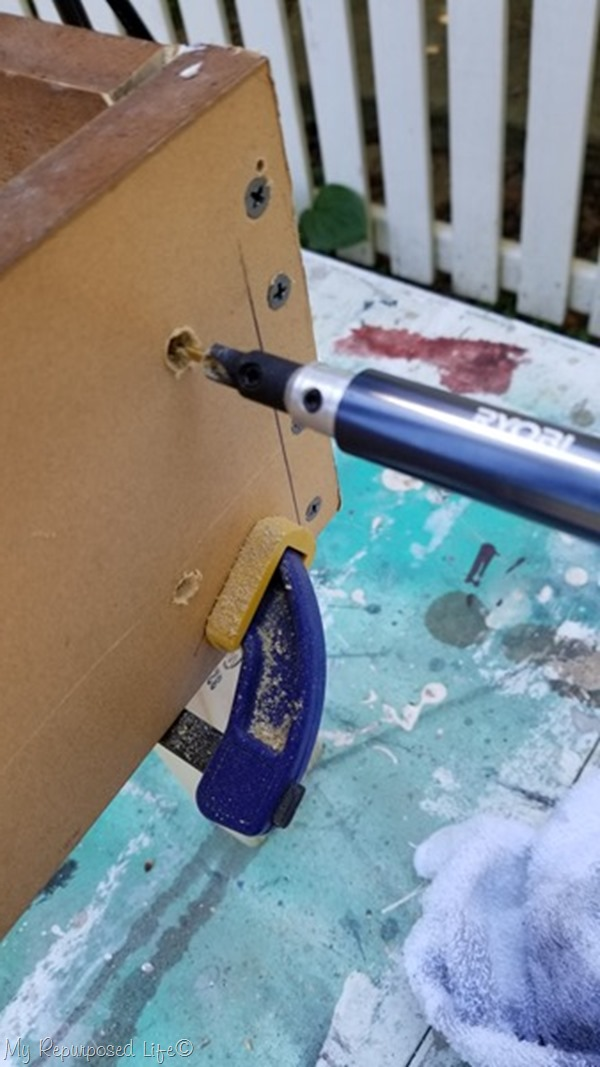 wood screws secure back legs for wooden bench