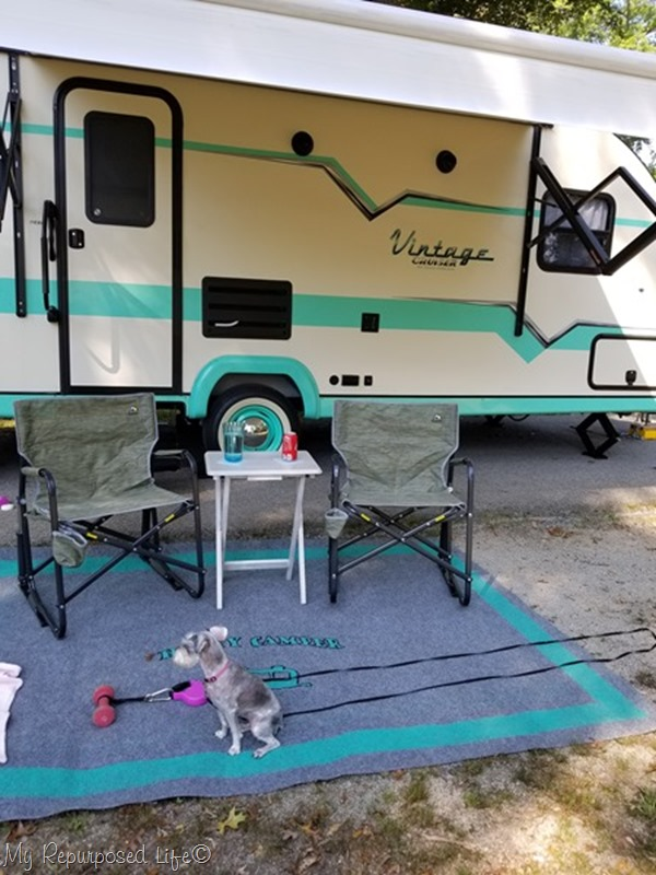 camping rug and folding tv table