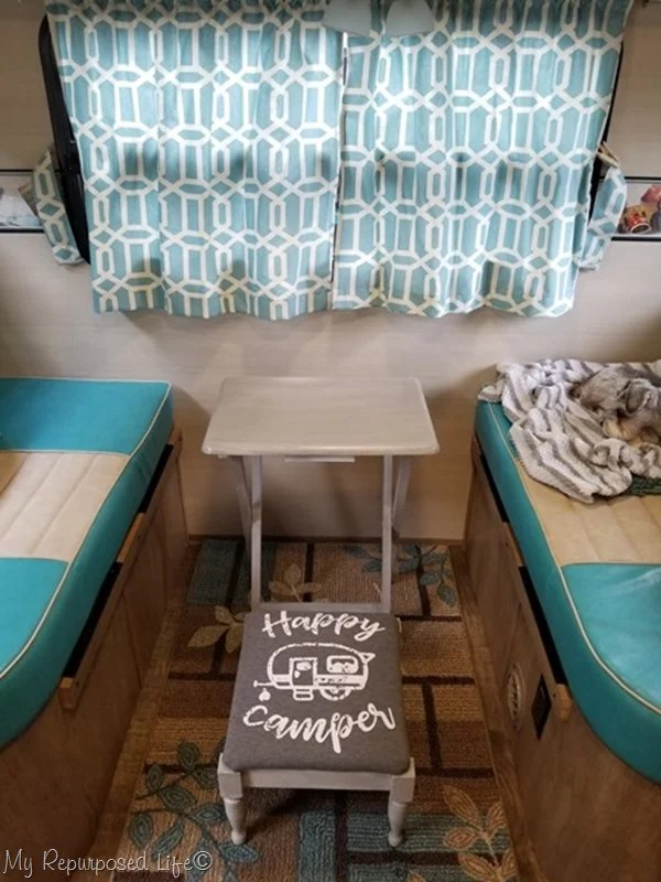 happy camper stool and tv table make it cozy