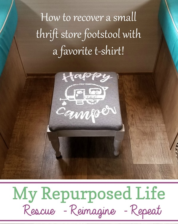 how to paint-glaze a thrift store small foot stool with a favorite t-shirt MyRepurposedLife