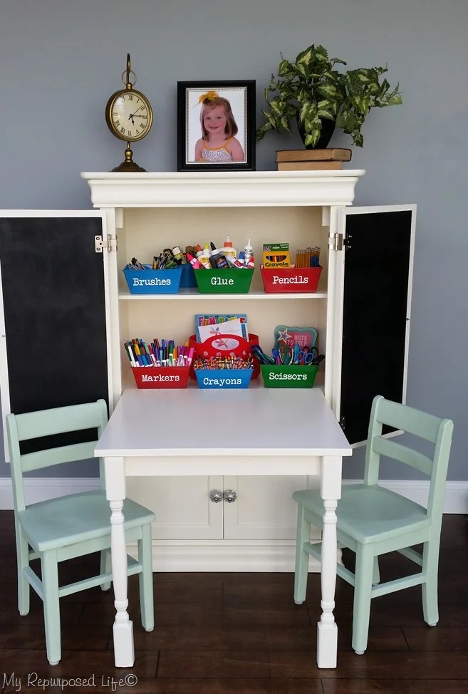 kids art center made from small armoire