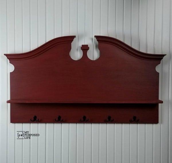 red headboard shelf coat rack MyRepurposedLife