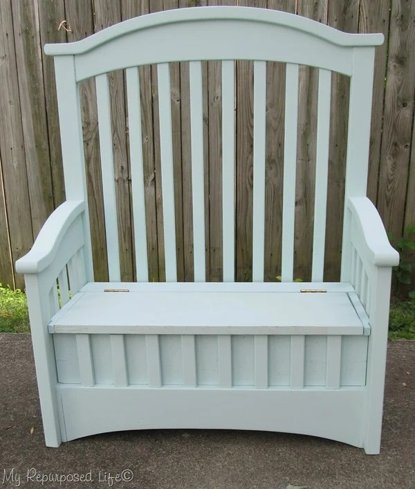 repurposed crib into toybox bench