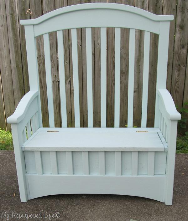repurposed crib into toybox bench