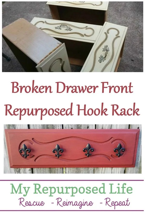 upcycled drawer front made into a hook rack for jewelry scarves and more