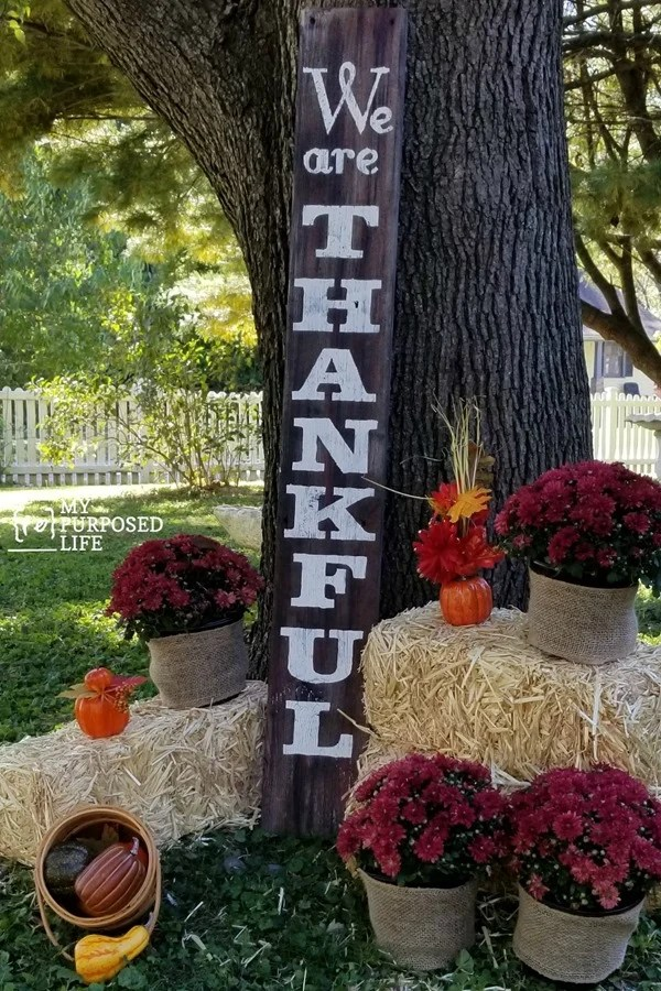 we are thankful tall porch sign made from reclaimed lumber and contact paper stencil MyRepurposedLife