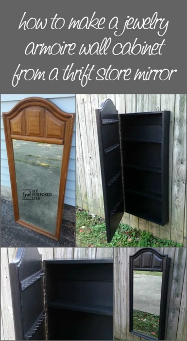how to make a jewelry armoire wall cabinet from a thrift store mirror