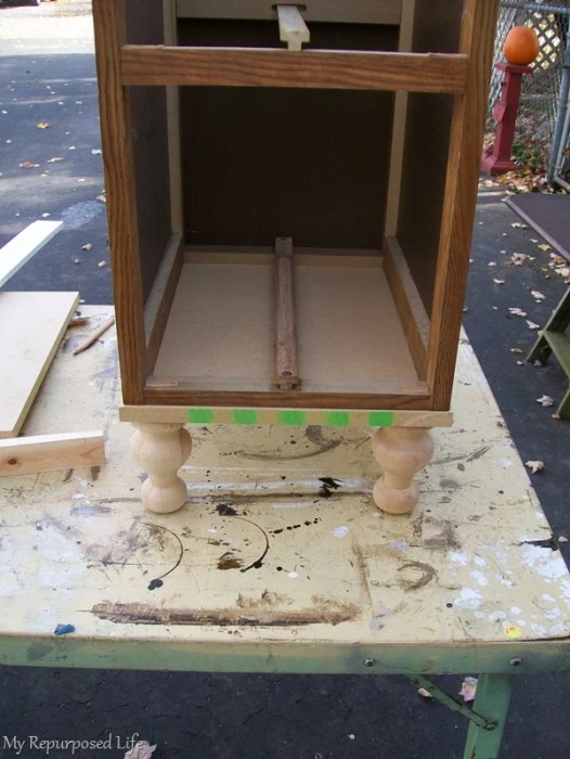 add a base to a lingerie chest made from a repurposed desk