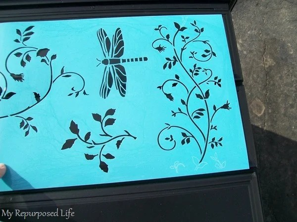 embellish repurposed desk with stencil