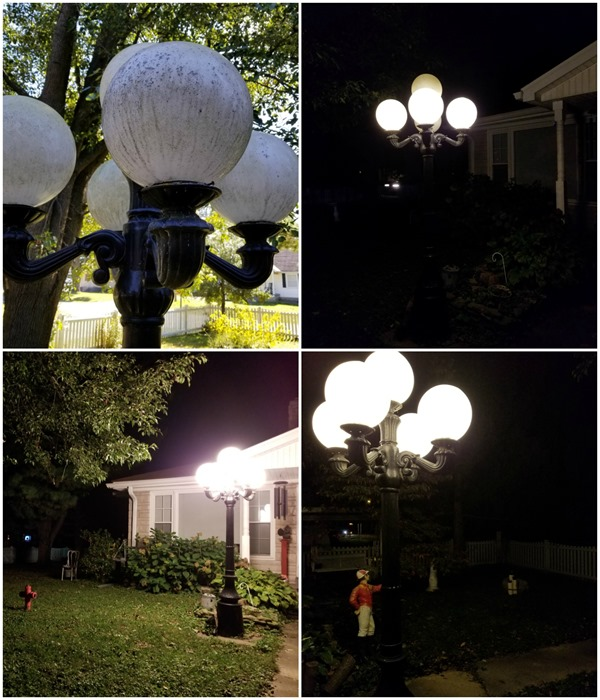 outdoor lighting before and after Cree light bulbs