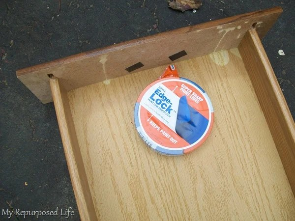 painters tape for painting repurposed drawers