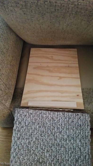 diy indoor pet ramp installed on couch