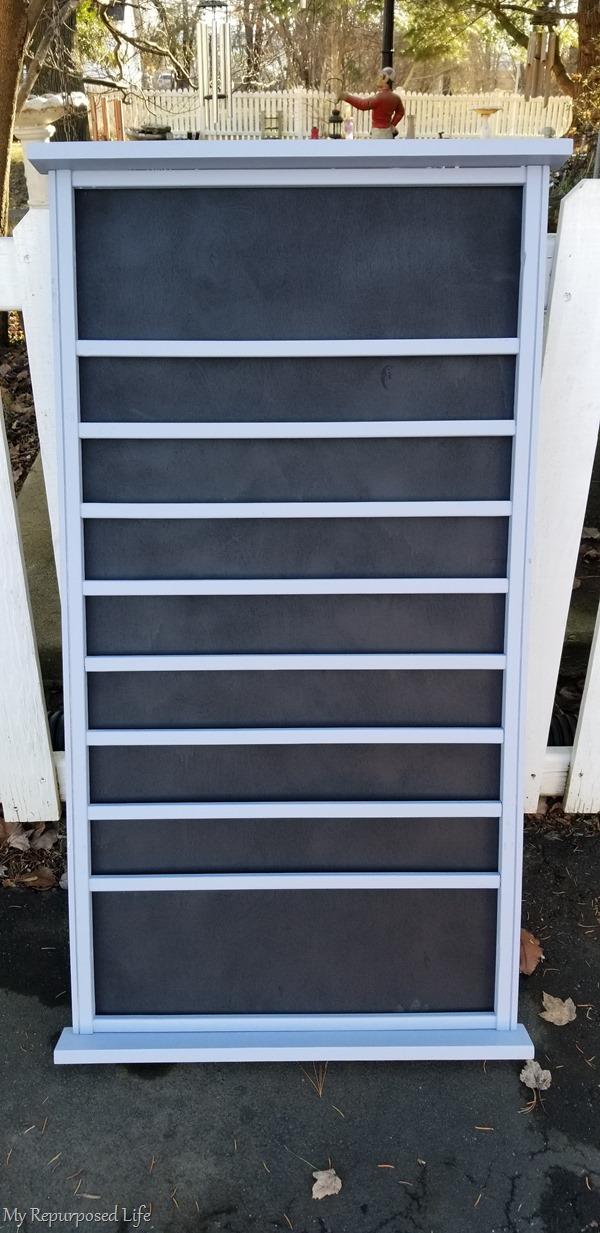 gray crib rail menu board