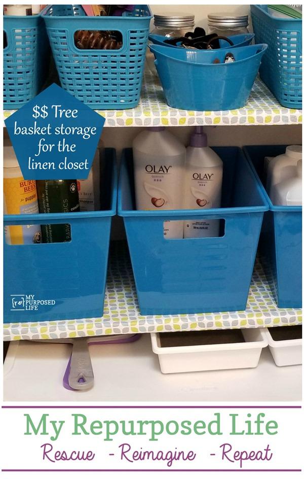 linen closet organization using dollar tree baskets MyRepurposedLife